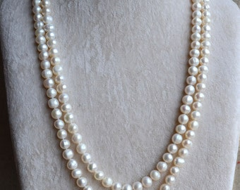 Long Pearl Necklace,8-9mm 50 inches Freshwater Pearl necklace,white pearl necklace ,long pearl necklace,bridal necklace, real pearl necklace
