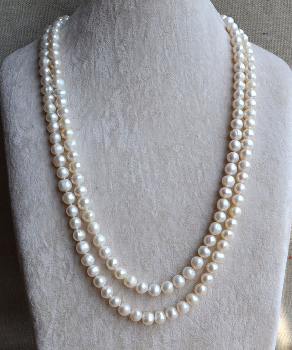 long pearl necklace8 9mm 50 inches freshwater pearl