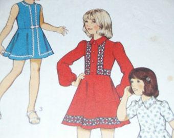 Original Vintage 1970s Style no 4641 Girls Dress Pattern size 6