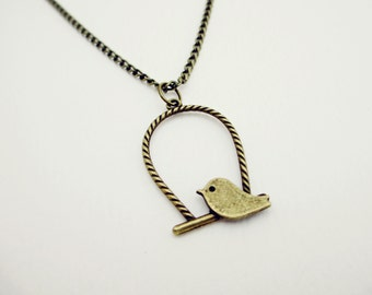 Swinging Bird Bronze Charm Necklace