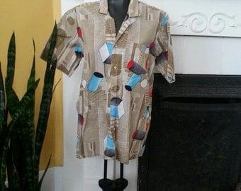 Great 1970s abstract geometric mod shirt