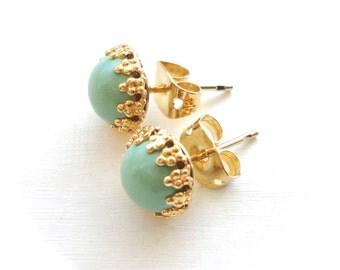 Mint Stud Earrings - Small Simple Sea Foam Green Post Earrings - Adoption Fundraiser - Handmade Jewelry