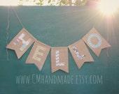 HELLO burlap banner