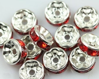 20 Red rhinestone rondelle spacer beads 8mm DB27632