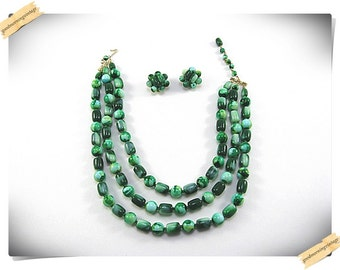 Marble Green Necklace and Earrings
