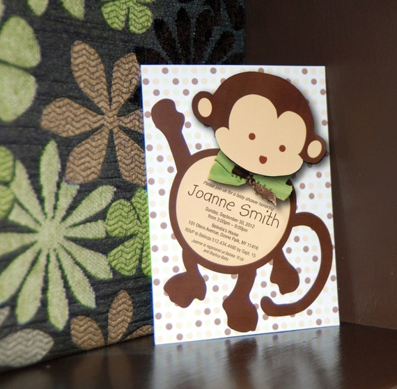 Mod monkey baby shower invitation and bonus thank you card by sassy il570xn filmwisefo Choice Image