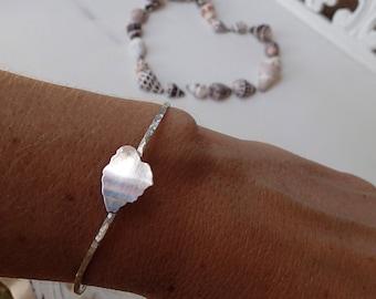 Kauai Bangle, Hawaiian Island Bracelet with Heart Clasp, sterling silver, handmade in Maui, Hawaii by Sparrow Seas