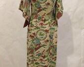 "Vintage 1940's 1950's Pake Muu Muu by ""Hawaiian Togs""  Rayon Hostess dress Kimono deco drape sleeves Size Medium waist 29, bust 36"
