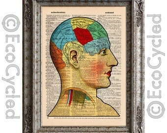 Brain Diagram on Vintage Upcycled Dictionary Art Print Book Art Print Recycled Antique
