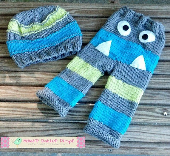 Monster Knit Hat and Pants Set for Baby Boy / by hookedonprops