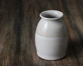 Modern Ceramic  Vase: Two-Tone White Minimalist Pottery Decor
