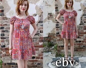Vintage 70s Red Floral Mini Sun Dress XS S Babydoll Dress Hippie Dress Summer Dress Mini Dress Patchwork Dress