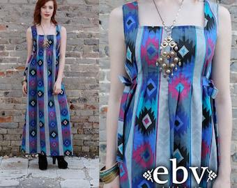 Vintage Hippie Dress Festival Dress Hippy Dress Boho Dress Handmade Vintage 70s Southwestern Dress Maxi Festival Sun Dress S M L