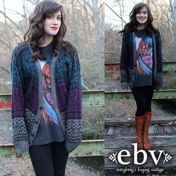 Vintage 80's Teal Purple Grey Tribal Cardigan Hippie Boho Sweater Jumper S M