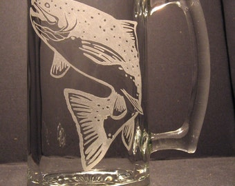 One wildlife engraved glass trout design beer mug