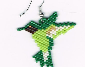 Hand Beaded Hummingbird Dangling earring  number 7