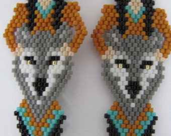 Hand Beaded Indian Maiden and Grey Wolf dangling earrings