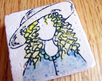magnet, natural stone, tumbled tile - girl in a sunhat