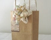 Vintage Map Bow and Gift Tag