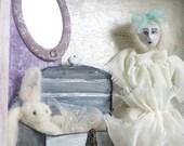Goth art doll shadow box needle felt rabbit clay Alice cottage chic wall hanging