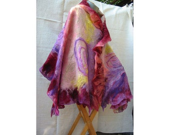 Felt Cape,Felt Shawl,European Wrap Cape,Woman Cape,Large Shawl,Lilak Wool Felt Cape,Wrap FeltCape,AU Wool Felt Cape,Nuno Felt Cape,Handmade