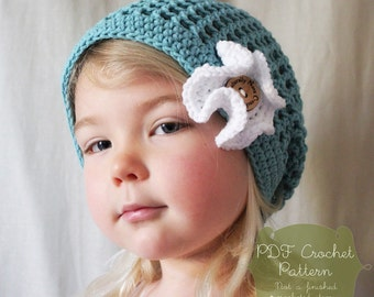 Crochet Pattern: The Cameron Cap-4 Sizes INcluded-Toddler, Child, Adult, Adult Large-flower, beach, mesh, summer, spring