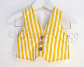Yellow stripe waistcoat wedding boys formal white vertical stripes vest toddler smart page boy ring bearer bright sunny