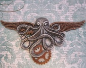 "Steampunk ""Admiral"" Octopus and Gears X-Large Wings - Airship Pilot / Steamship Pilot /  Scientific Pilot"