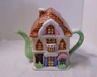 Country Tudor 2 story house Teapot
