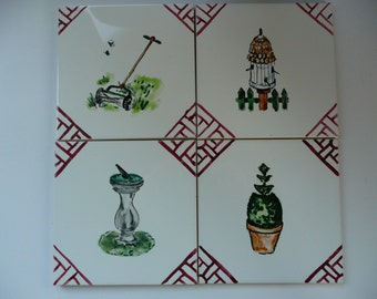 Red and White Handpainted Garden Wall Tiles - 6x6