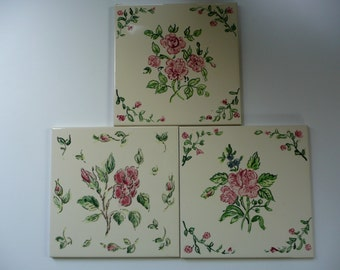Rose and Green Handpainted Flower Tiles - 6 x 6