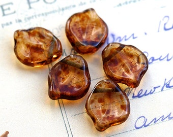 Czech leaves Brown Picasso, glass leaf shape beads, chunky, large  - 12x15mm - 10Pc - 545