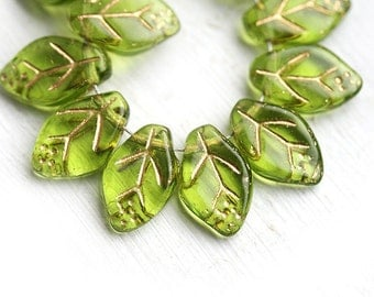 12x7mm Green leaves, Czech glass beads, green and gold leaf beads, golden inlays - 25Pc - 1482