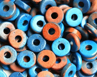 Greek Ceramic Rondelle beads, Rust and Dark blue rondels, spacers, washer, 8mm - 25pc - 0696