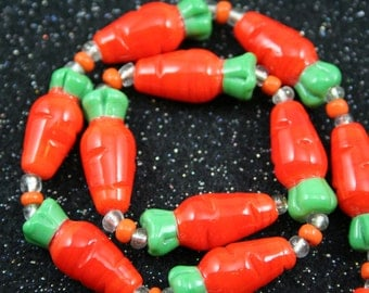 Easter Design Cute Carrot Lampwork Glass Beads(Pack of 12 beads) L10111
