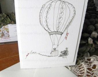 Love Card - Fine Art Greeting Card - Valentines - Couple in Hot Air Balloon, Love Card - Deckle Edge