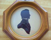 Antique Colonial Gentleman Profile Silhouette Round Bubble Glass Wooden Frame