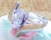 Vintage Sterling Silver Freeform Design Ring with Marquise Shaped CZ Engagement Style Wedding Ring