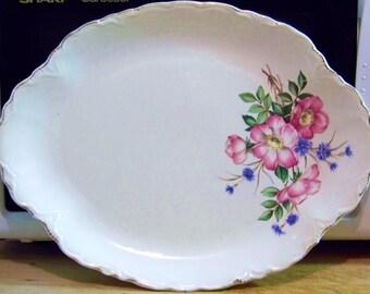 Antique Large Oval Ceramic Serving Platter Cottage Chic / Victorian Floral Plate / Victorian Home Decor