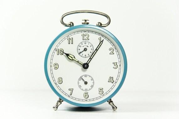 vintage alarm clock blue west germany wind up shabby chic. Black Bedroom Furniture Sets. Home Design Ideas