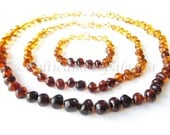 Baltic Amber Teething Necklace and Bracelet for Baby and Matching Necklace for Mommy