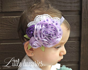 Tisket A' Tasket -Satin Headband with  Purple Polk-a-dot and Lavender Satin, Rosettes, Green Satin leaves, and White Embroidered Eyelet Lace