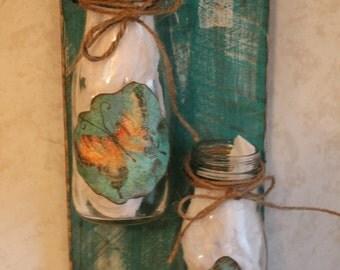 Prim Wall Hanging, Upcycled Jars, Country Decor. Home Decor..Housewarming Gift, Prim Decor