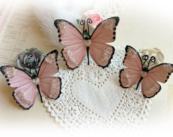 Reneabouquets Butterfly Set Sweetheart Glitter Glass Butterflies Scrapbook Embellishment Tag, Card, Mini Album, Wedding
