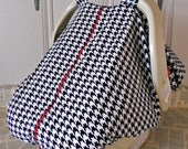 100% Cotton Baby Car Seat Carrier Canopy Cover Houndstooth, FREE MONOGRAMMING