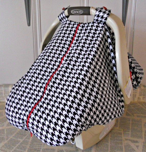 100 cotton baby car seat carrier canopy cover houndstooth. Black Bedroom Furniture Sets. Home Design Ideas