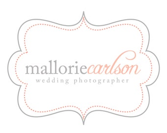 Premade Logo for Photographers and Small Crafty Boutiques Grey and Coral Frame