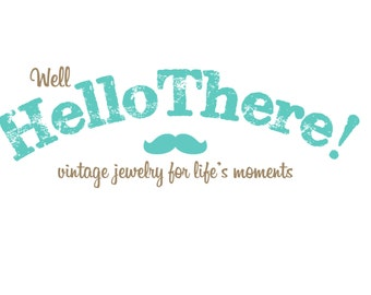Custom Logo Design and Premade Logo with Stamp Text and Vintage Mustache