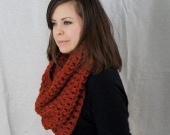 Chunky knit  cowl scarf, infinity scarf, tube scarf, winter / Oban Warmer - spice