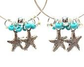 Cute Aqua Beach Hoop Earrings with Tibetan Silver Starfish Charms